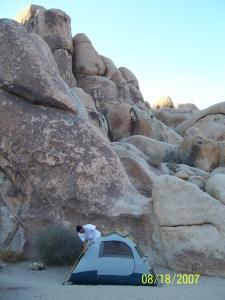 Joshua Tree in 2007, my husband setting up our 2 person tent